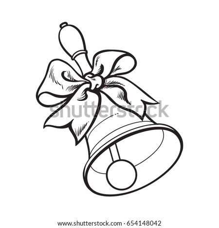 Traditional School Bell Ribbon Black White Stock Vector Royalty