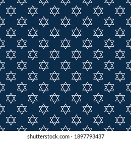 Traditional seamless pattern with white Stars of David on a dark blue backdrop