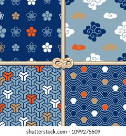 Traditional seamless patterns in oriental style, set (sakura's flowers, clouds, geometric, waves)