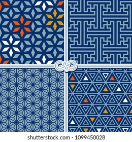 Traditional seamless patterns in oriental style, set (stars, geometric, triangles)