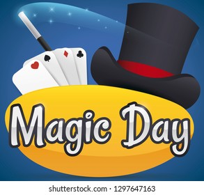 Traditional set to perform magic tricks during Magic Day: elegant top hat, playing card set and magical wand.