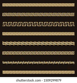 Traditional simple meander. Golden border on the dark background. Ancient Greek ornament. Vector.