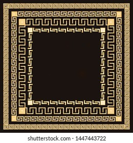 Traditional simple meander. Golden square frame on the dark background. Ancient Greek ornament. Vector.