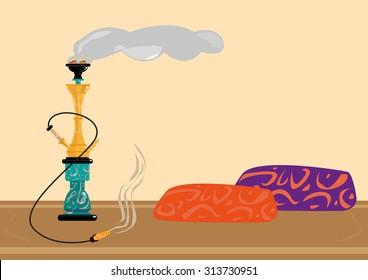 Traditional Sisha or Shisha Recreational Smoking Area. Flat Style Clip Art.