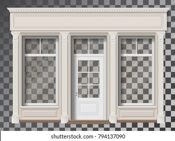 Traditional small shop facade with large window and columns. Front view.  Showcase with transparent glass, easily change exhibition.