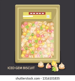 Traditional snack Iced Gem Biscuit commonly found in Malaysia and Singapore