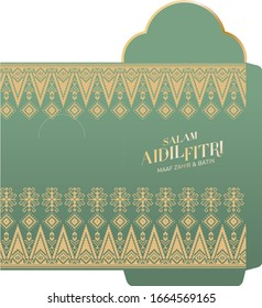 traditional songket textile texture money packet vector/illustration with malay words that mean 'blessed aidilfitri','i seek forgiveness'