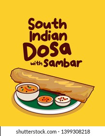 traditional South indian food dosa with sambar vector illustration