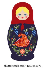 Traditional souvenir Russian floral folk matryoshka doll, Gorodets painting stylization. Birds and flowers, matryoshka babushka. Russian nesting doll girl with a smile. Isolated on white illustration