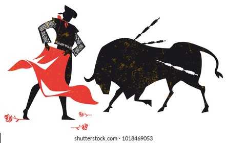 traditional spanish corrida. Bull and toreador isolated silhouette, vector illustration