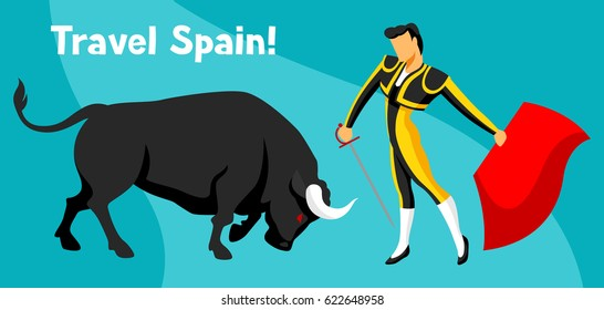 Traditional spanish corrida. Bull and toreador with sword and red cape.