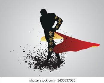 Traditional Spanish corrida. Toreador isolated silhouette, vector illustration