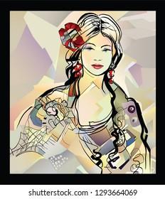 Traditional Spanish Flamenco woman - vector illustration