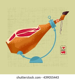 Traditional spanish food. Jamon. Dry-cured Spanish ham. Vector illustration