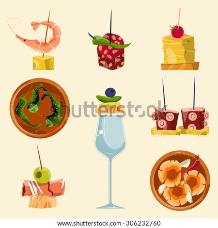 traditional spanish food selection tapas vector のベクター画像素材