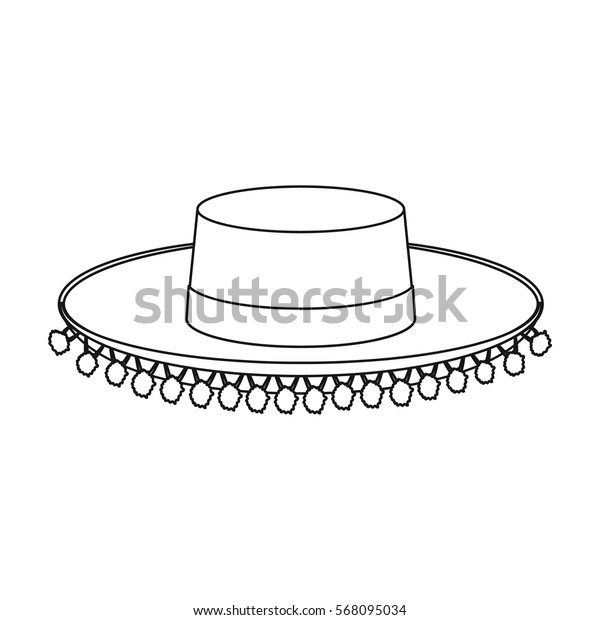 Traditional spanish hat icon in outline style isolated on white background. Spain country symbol stock vector illustration.
