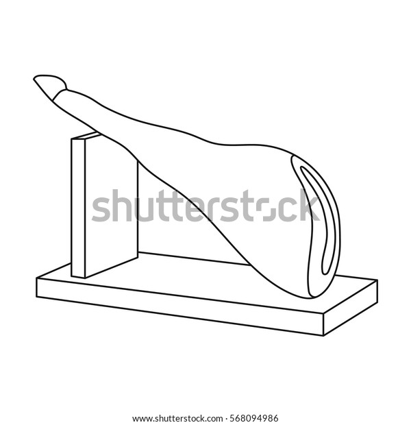 Traditional spanish jamon icon in outline style isolated on white background. Spain country symbol stock vector illustration.