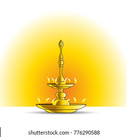 traditional Sri Lankan brass oil lamp cartoon vector drawing