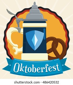 Traditional stein and delicious pretzel for Oktoberfest celebration decorated with a ribbon in flat style.