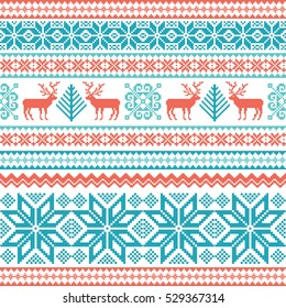 Traditional striped knitted winter seamless pattern. Christmas background with deer, snowflake and tree