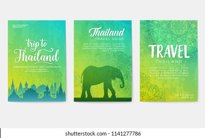 Traditional style brochure pages. Flyer for travel around the thai country. Architecture and animals of Thailand on invitation covers. Ethnic ornaments