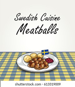 Traditional Swedish Meal - Vector Meatballs with Boiled Potatoes and Lingonberry Jam