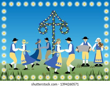 Traditional Swedish midsummer dance in typical national dresses. Vector Illustration