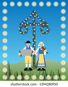 Traditional Swedish Midsummer musicians at the flower decorated maypole. Vector Illustration