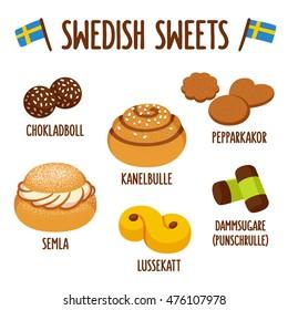 Traditional swedish sweets. Chokladboll (chocolate balls) Kanelbulle (cinnamon roll), Pepparkakor (ginger snaps), Semla (whipped cream bun), lussekatt (saffron bun) and dammsugare (punch roll).