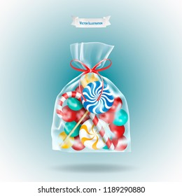 Traditional sweets candies lollipop and Candy Cane packed in a transparent sachet package with a red ribbon on blue background. Christmas or birthday gift. Realistic vector illustration.