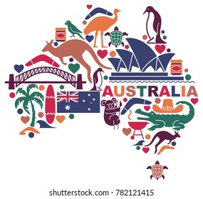 Traditional symbols of Australian culture and nature