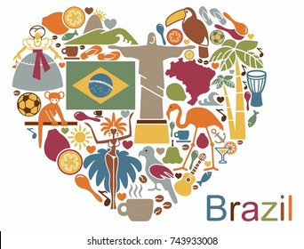 Traditional symbols of culture and the nature of Brazil in the form of a heart