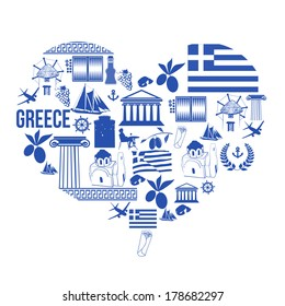 Traditional symbols of Greece in the form of heart on white, vector illustration