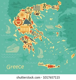 Traditional symbols of Greece in the form of map