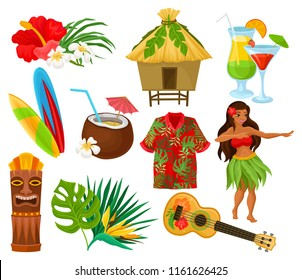 Traditional symbols of Hawaiian culture set, hibiscus flower, bungalow, surfboard, tiki tribal mask, ukulele, exotic cocktails vector Illustrations on a white background