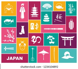 Traditional symbols of Japan. Coloured icons. Vector illustration