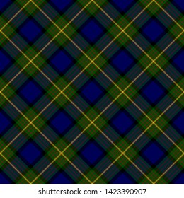 The Traditional Tartan of the Scottish Clan More/Muir. Seamless pattern for fabric, kilts, skirts, plaids. Diagonal cell