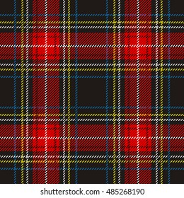 Traditional tartan. Seamless Scottish plaid checkered vector pattern. Retro textile collection. Dark grey with red and yellow stripes.