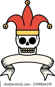 traditional tattoo with banner of a skull jester