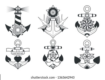 Traditional Tattoo Design Anchors Set