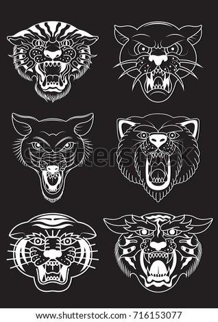 Traditional Tattoo Design Angry Animal Muzzle Vector De Stock Libre