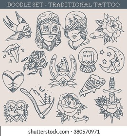 traditional tattoo design doodles