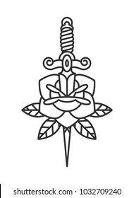 Traditional tattoo flash rose with knife