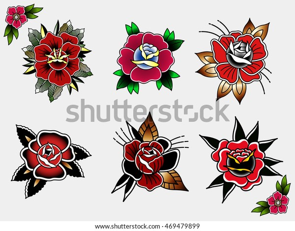 4a2a6622a Traditional Tattoo Flowers Set Ink Roses Stock Vector (Royalty Free ...