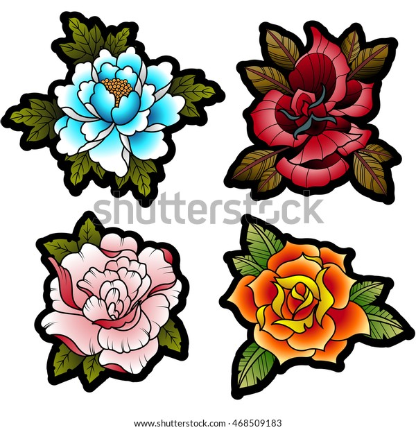 4b3a85719 Traditional Tattoo Flowers Set Peonies Roses Stock Vector (Royalty ...
