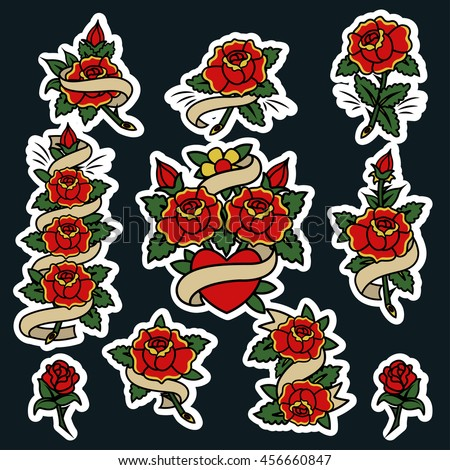 Traditional Tattoo Flowers Set Roses Ribbons Stock Vector Royalty