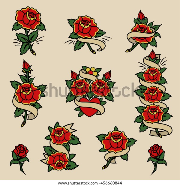 c9de9af4b Traditional Tattoo Flowers Set Roses and Ribbons Old School Tattooing  Sketches Collection
