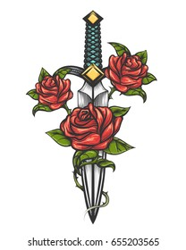Traditional tattoo with rose flowers and dagger knife. Vector illustration isolated. Colorful Tattoo in engraving style for your use.