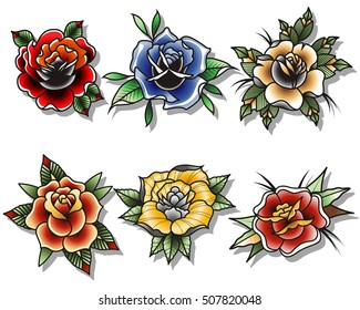 7410eed1d Traditional Tattoo Roses Set Tattooing Drawing Flowers Flash Collection