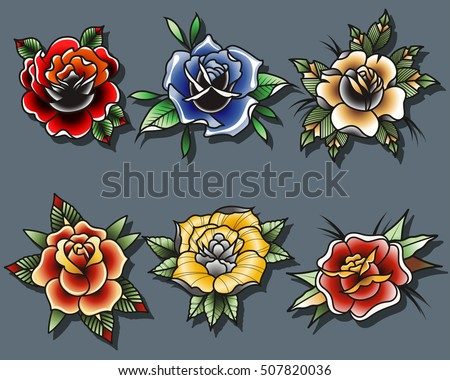 Traditional Tattoo Roses Set Tattooing Drawing Stock Vector Royalty